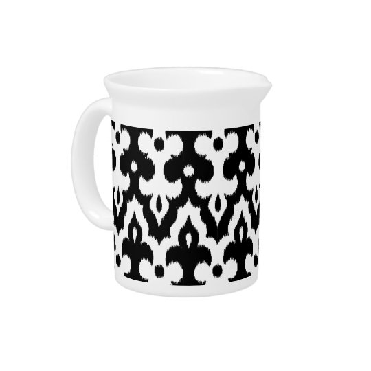 Moroccan Ikat Damask Pattern, Black and White Beverage Pitchers