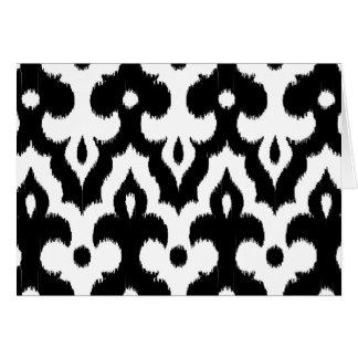 Moroccan Ikat Damask Pattern, Black and White Card