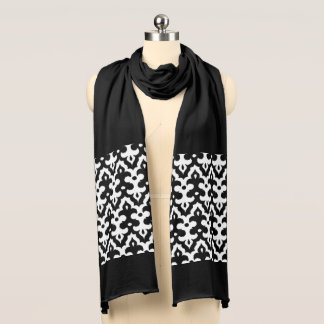 Moroccan Ikat Damask Pattern, Black and White Scarf