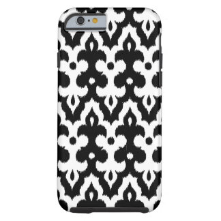 Moroccan Ikat Damask Pattern, Black and White Tough iPhone 6 Case