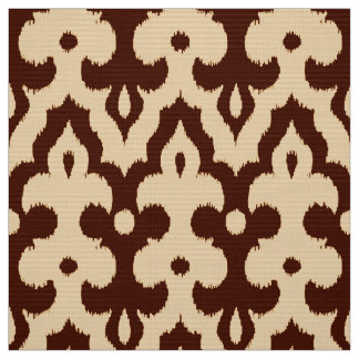 Moroccan Ikat Damask Pattern, Brown and Tan Fabric