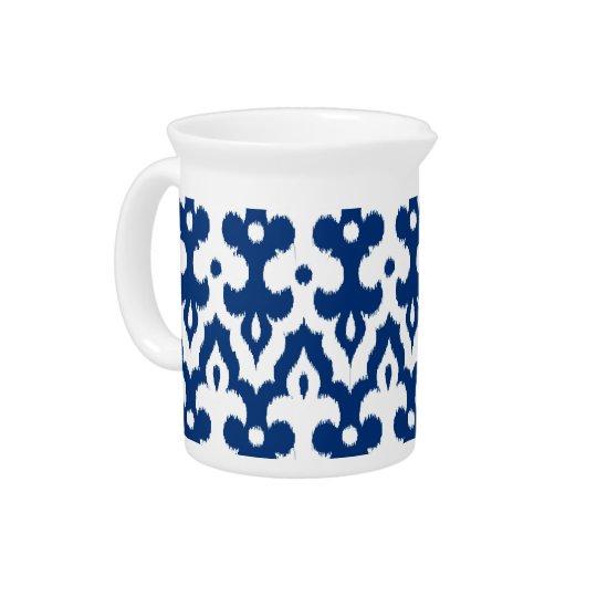 Moroccan Ikat Damask Pattern, Cobalt Blue & White Drink Pitchers