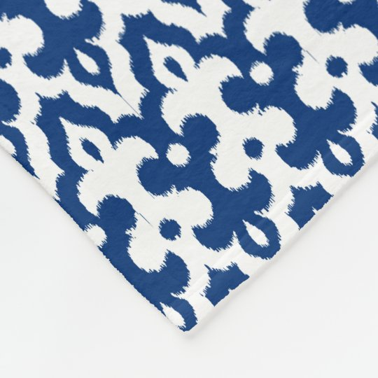 Moroccan Ikat Damask Pattern, Cobalt Blue & White Fleece Blanket