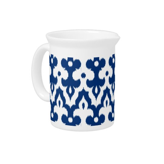 Moroccan Ikat Damask Pattern, Cobalt Blue & White Pitcher