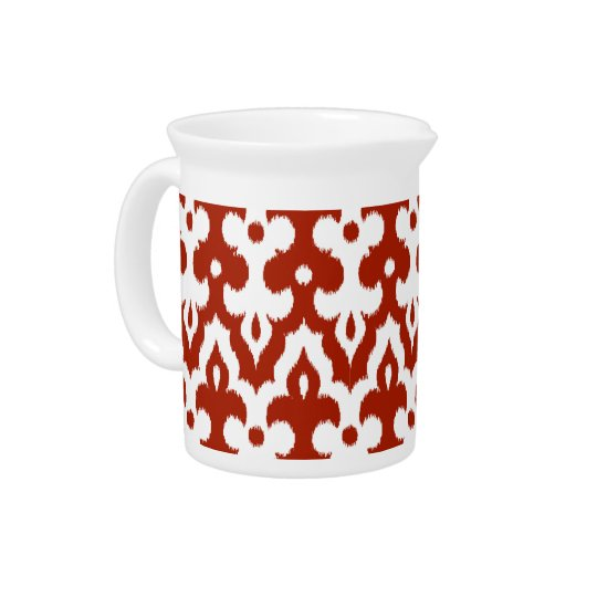 Moroccan Ikat Damask Pattern, Deep Red and White Drink Pitcher