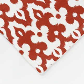 Moroccan Ikat Damask Pattern, Deep Red and White Fleece Blanket