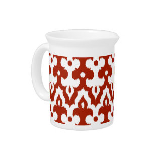 Moroccan Ikat Damask Pattern, Deep Red and White Pitcher