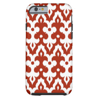 Moroccan Ikat Damask Pattern, Deep Red and White Tough iPhone 6 Case