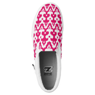 Moroccan Ikat Damask Pattern, Fuchsia Pink & White Slip-On Sneakers