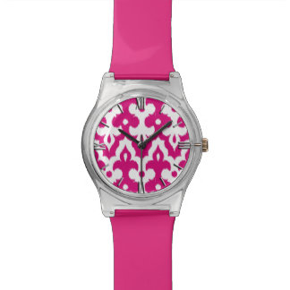 Moroccan Ikat Damask Pattern, Fuchsia Pink & White Wrist Watch
