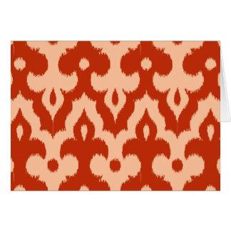 Moroccan Ikat Damask Pattern, Mandarin Orange Card