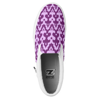 Moroccan Ikat Damask Pattern, Plum and Orchid Slip-On Sneakers