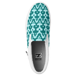 Moroccan Ikat Damask Pattern, Turquoise and Aqua Slip-On Sneakers