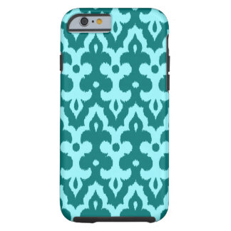 Moroccan Ikat Damask Pattern, Turquoise and Aqua Tough iPhone 6 Case