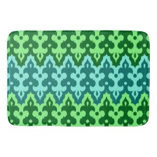 Moroccan Ikat Damask, Turquoise & Jade Green Bath Mat