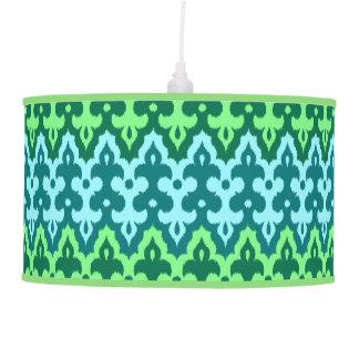 Moroccan Ikat Damask, Turquoise & Jade Green Pendant Lamp