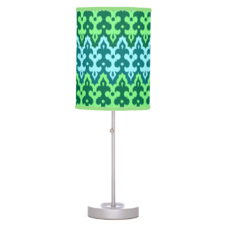 Moroccan Ikat Damask, Turquoise & Jade Green Table Lamp