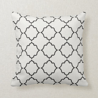 Moroccan in Black with Ivory Throw Pillow
