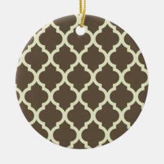 Moroccan Lattice Pattern Brown & white Ceramic Ornament