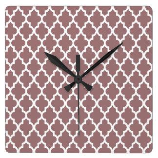 Moroccan Lattice Pattern In Brown Earth Square Wall Clock