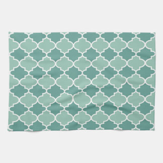 Moroccan Lattice Pattern in Dark and Light Blue Kitchen Towels