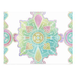 Moroccan Mandala Pattern Rainbow Watercolor Postcard