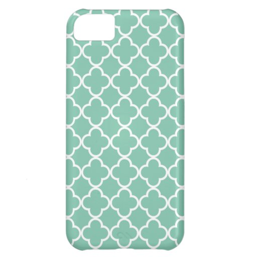 Moroccan Mint Green & White Quatrefoil Pattern iPhone 5C Cover
