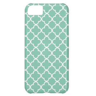 Moroccan Mint Green & White Quatrefoil Pattern Case For iPhone 5C
