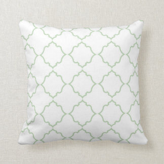 Moroccan Mint with White Throw Pillow