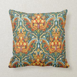 Moroccan Paisley in Aqua Blue and Tangerine Orange Throw Pillow