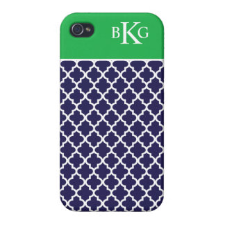 Moroccan Pattern & Monogram | Navy Apple Green iPhone 4/4S Covers