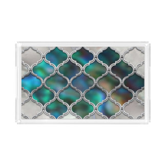 Moroccan pattern on the pearl and color shell acrylic tray