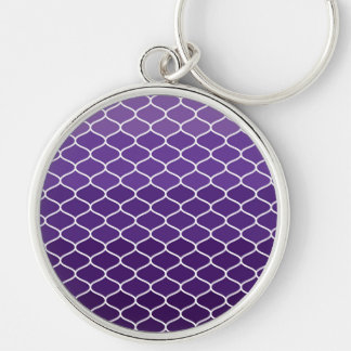 Moroccan pattern Silver-Colored round keychain