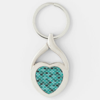 Moroccan pattern Silver-Colored twisted heart keychain