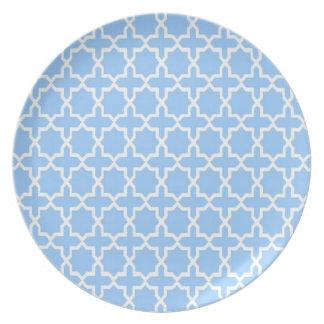 Moroccan pattern; Sky blue Dinner Plates