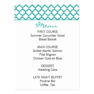 Moroccan Pattern Teal Wedding Menu Postcard