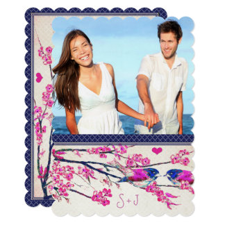 Moroccan Photo Pink Navy Love Bird Cherry Blossom Card