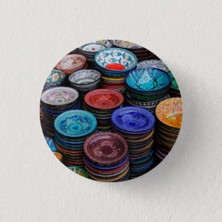 Moroccan Plates At Market 1 Inch Round Button