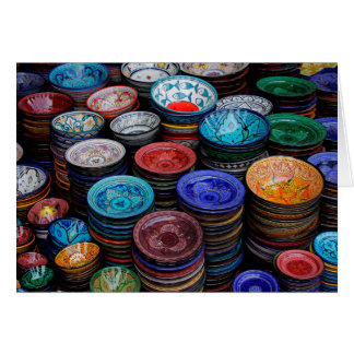 Moroccan Plates At Market Card