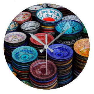 Moroccan Plates At Market Large Clock