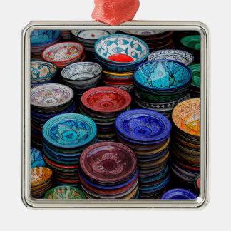 Moroccan Plates At Market Metal Ornament