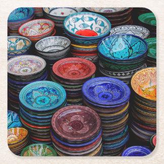 Moroccan Plates At Market Square Paper Coaster