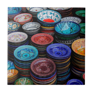 Moroccan Plates At Market Tile