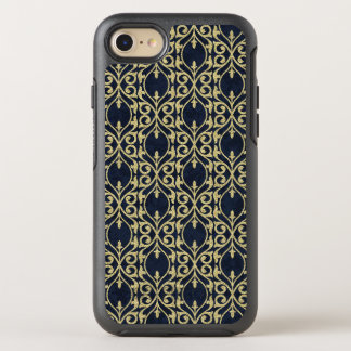 Moroccan Print flourish navy blue gold OtterBox Symmetry iPhone 7 Case