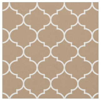 Moroccan Quatrefoil Iced Coffee & White Fabric