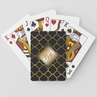 Moroccan Quatrefoil Pattern Black Gold Monogram Playing Cards
