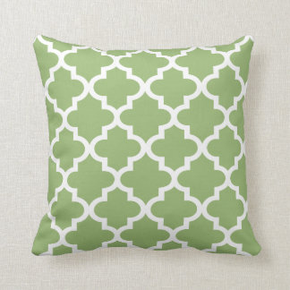 Moroccan Quatrefoil Pattern | Olive Green Throw Pillow