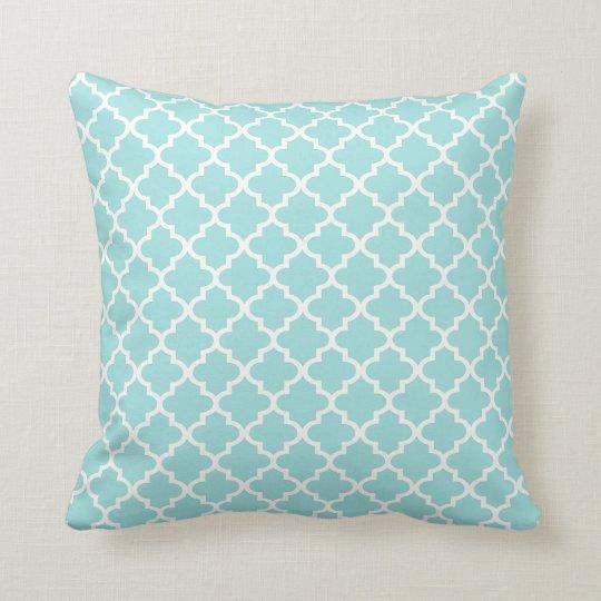 Moroccan Quatrefoil Pattern Pillow | Aqua Blue