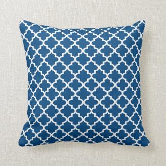 Moroccan Quatrefoil Pattern Pillow | Sapphire Blue