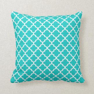 Moroccan Quatrefoil Pattern Pillow | Turquoise